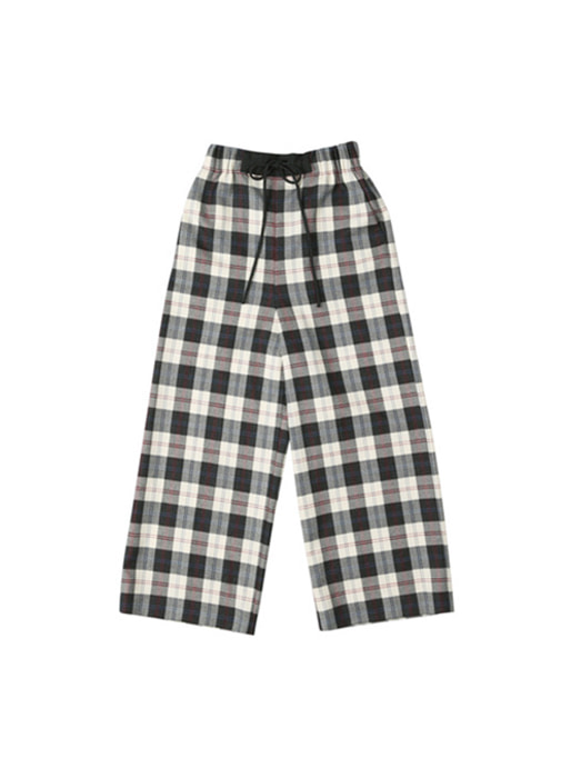 [앤유][균일가 세일]OXFORD wide string pants (Ivory check & Black)