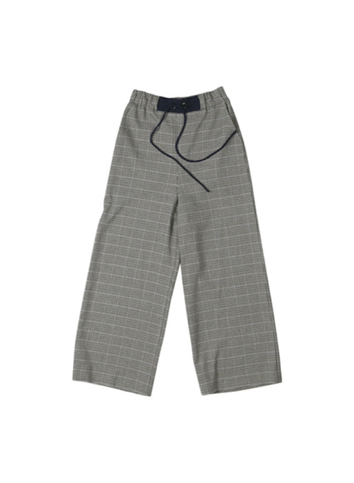 [앤유][균일가 세일]OXFORD wide string pants (Navy glen check)