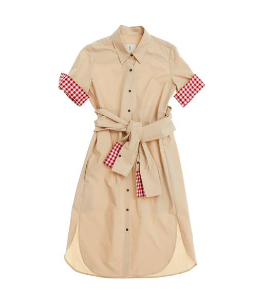 [앤유][균일가 세일]COPENHAGEN short sleeve shirt dress (Beige & Red gingham check)