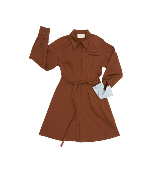 [앤유][균일가 세일]NEW YORK long sleeve flared shirt dress (Short) (Chocolate & Soft light blue)