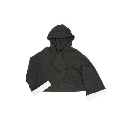 SYDNEY over-sized short hoodie (Washed black & White)