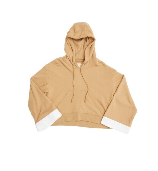 SYDNEY over-sized short hoodie (Caramel beige & White)