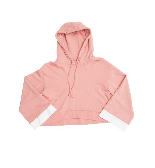 [혜리 착용]SYDNEY over-sized short hoodie (Peach pink & White)