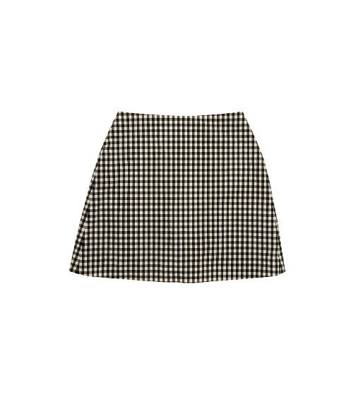 [앤유]PARIS short skirt (Black gingham check)