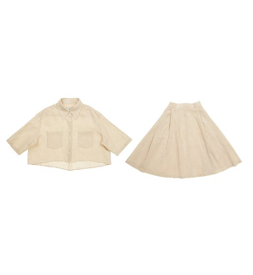 [조여정 착용]WILLIAMSBURG short sleeve crop shirt (Butter stripe)