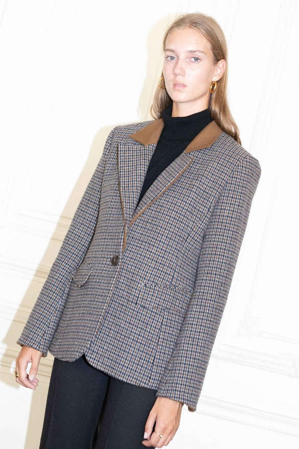 [앤유]VOLTAIRE detachable collar blazer Brown gingham check