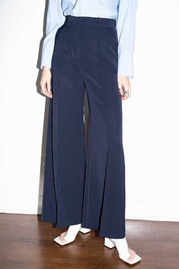 [앤유]IRVINE wide trousers (Navy)
