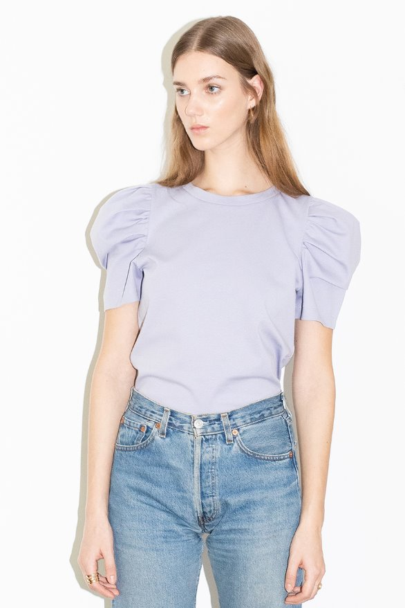[앤유][6/5 예약발송]ANAHEIM puffed detail shoulder t-shirt (Lilac)