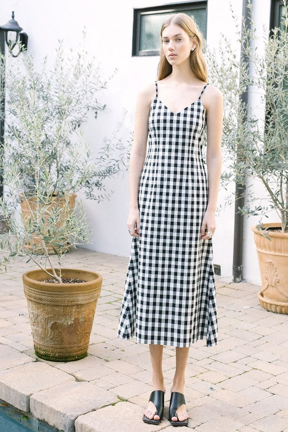 SANTA BARBARA v neck sleeveless maxi dress (Black and white gingham check)