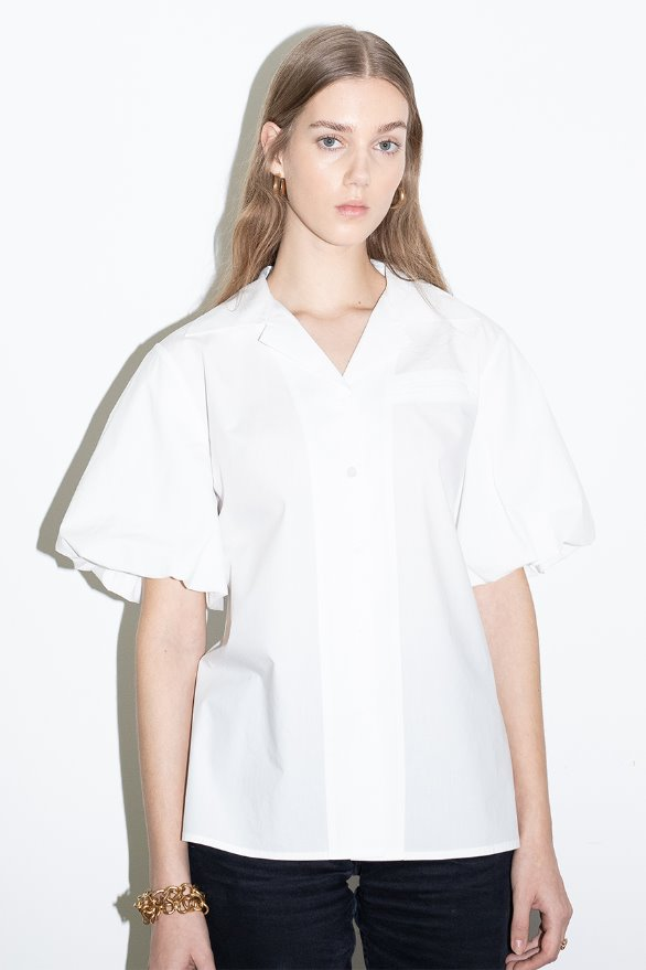 [조우리 착용]ORANGE COUNTY notched collar balloon short sleeve blouse (Off white)