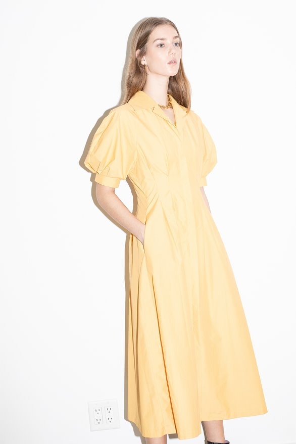 WEST HOLLYWOOD voluminous short sleeve shirt dress (Yellow)