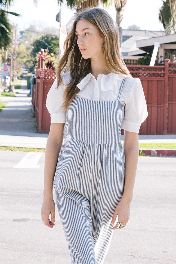 GRIFFITH PARK camisole overall (White and light navy stripe)