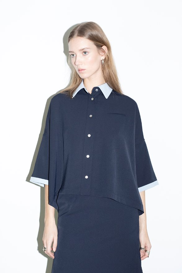 HERMOSA oversized short sleeve shirt (Navy,conflower blue)