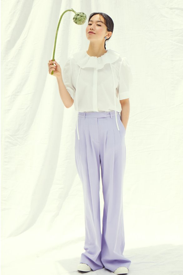 [앤유x이설]GLENDALE tuck detail trouser pants (Lilac)