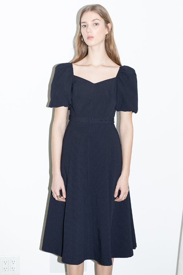 RODEO DRIVE Square neck A line dress (Deep navy)