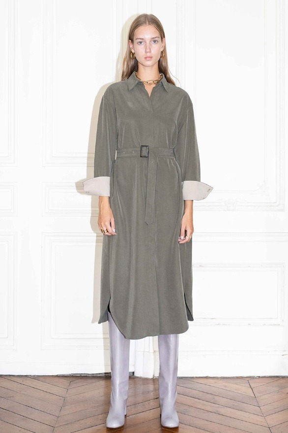 Seoul oversized long sleeve shirts dress (Khaki)