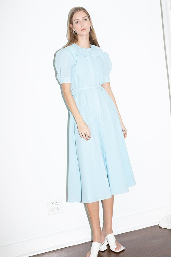 NEWPORT ruffle detail short sleeve oversized dress (Sky blue)