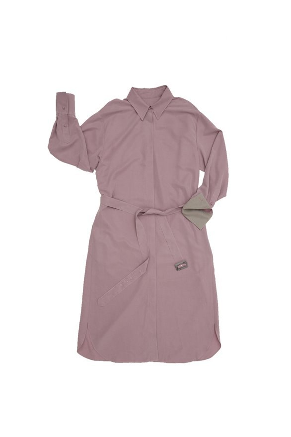 [기은세 착용]SEOUL over-sized drop shoulder shirt dress (Soft Lilac & Light gray)