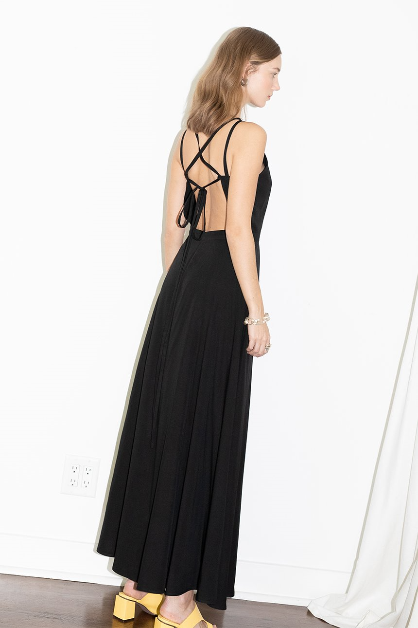 HUNTINGTON BEACH square neck backless maxi dress (Black)
