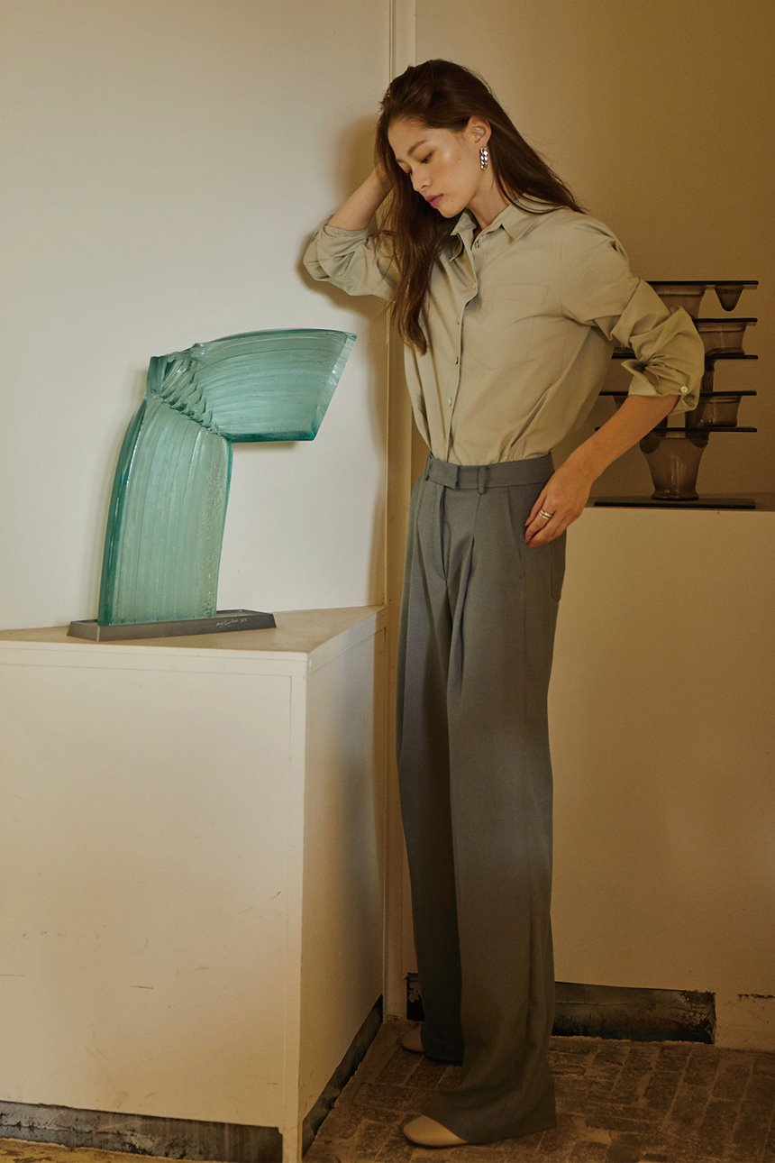 BORAMAE Wide leg trousers (Khaki gray)