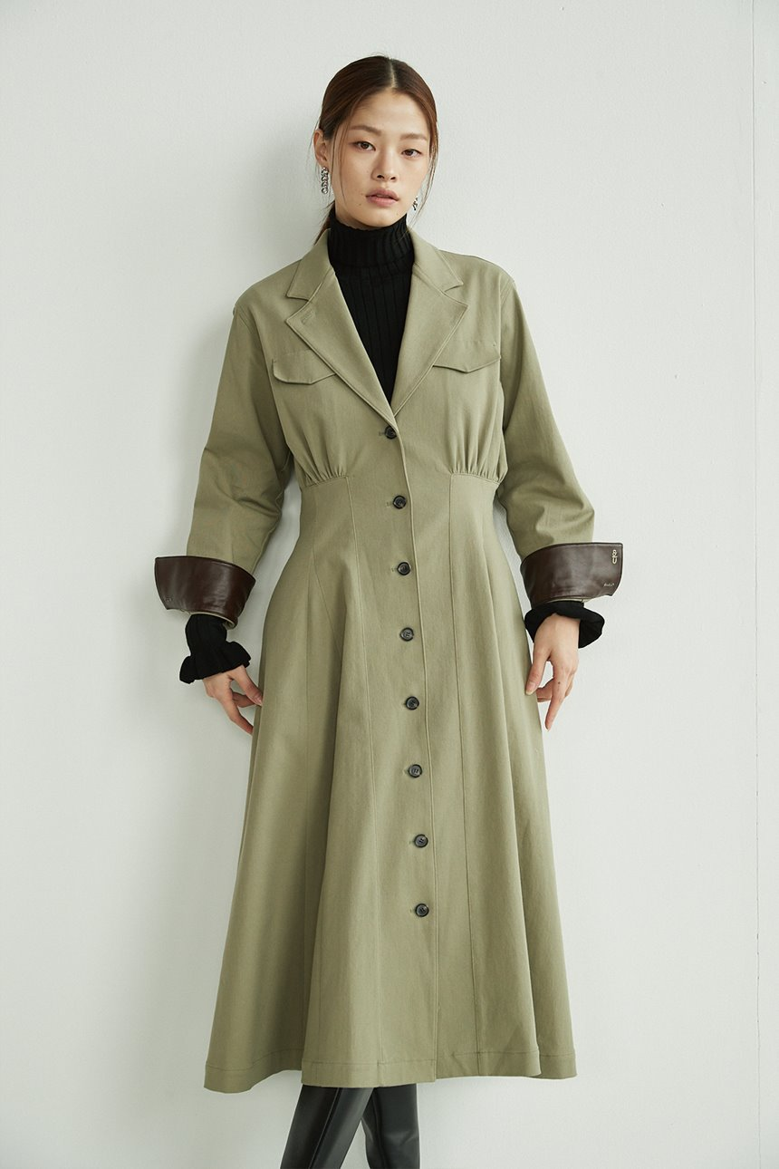 GONGDEOK Waist tuck shirt dress (Pale olive)