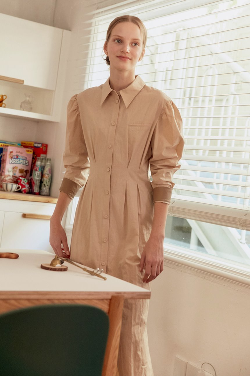 HANGANGJIN Puffed shirt dress (Sand beige)