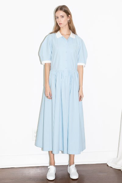 [아이비착용]MELROSE round collar oversized shirt dress (Sky blue)