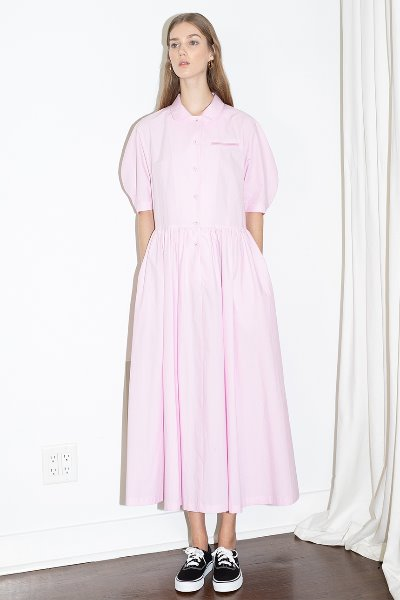 [문정원착용]MELROSE round collar oversized shirt dress (Candy pink)