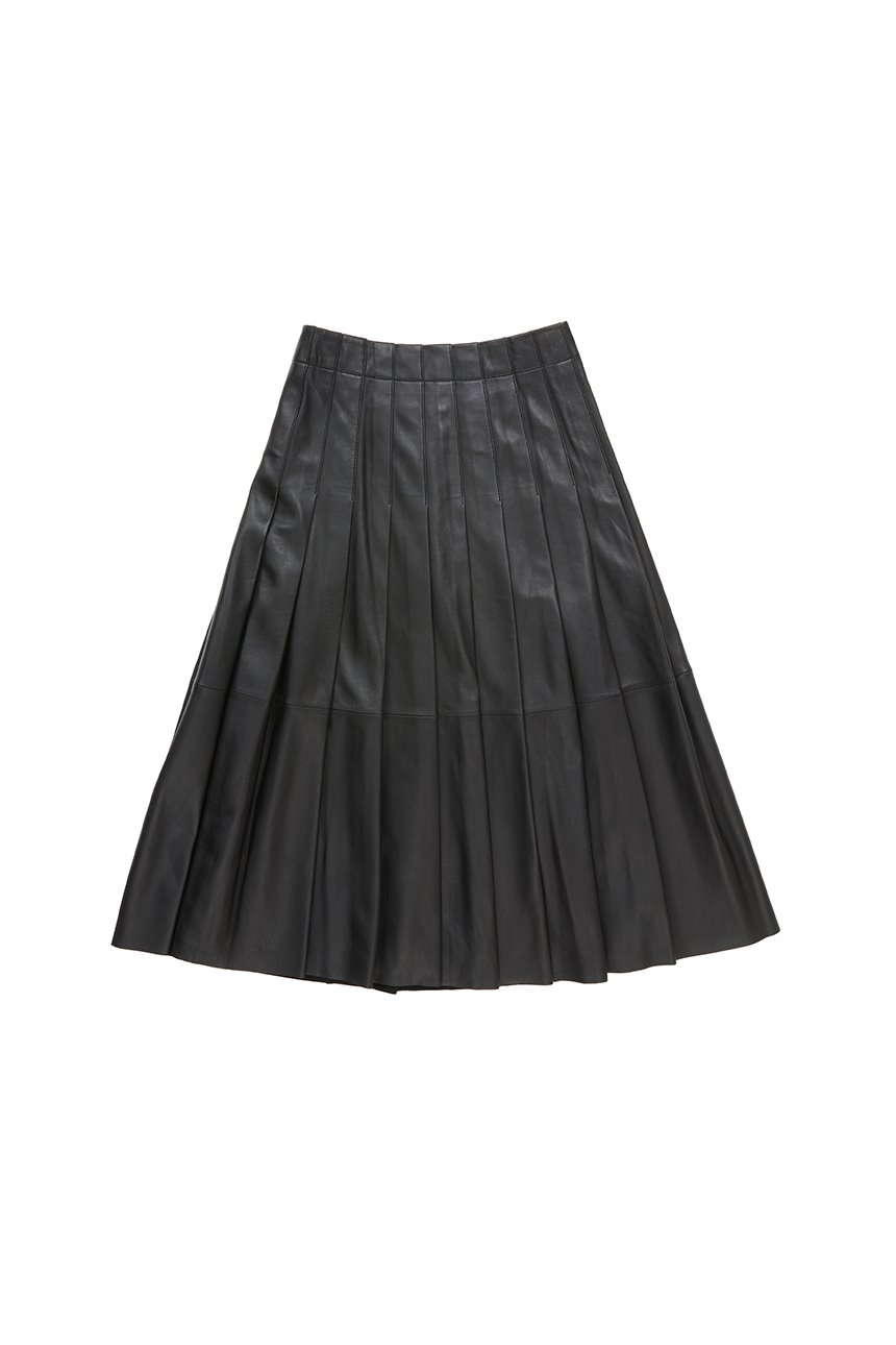 HANNAM Pleated leather skirt (Black)
