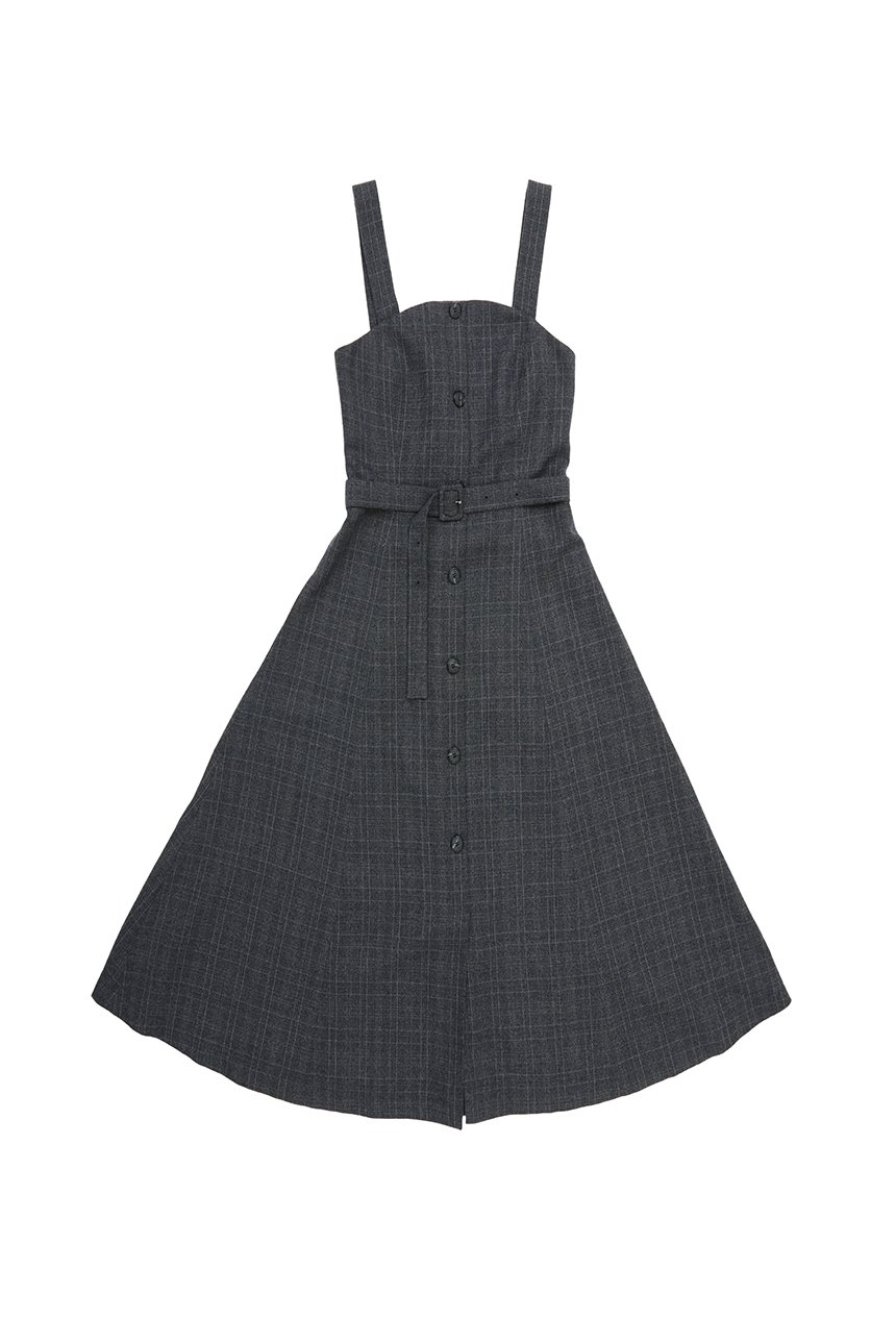 HAPJEONG Tube top dress (Gray check)