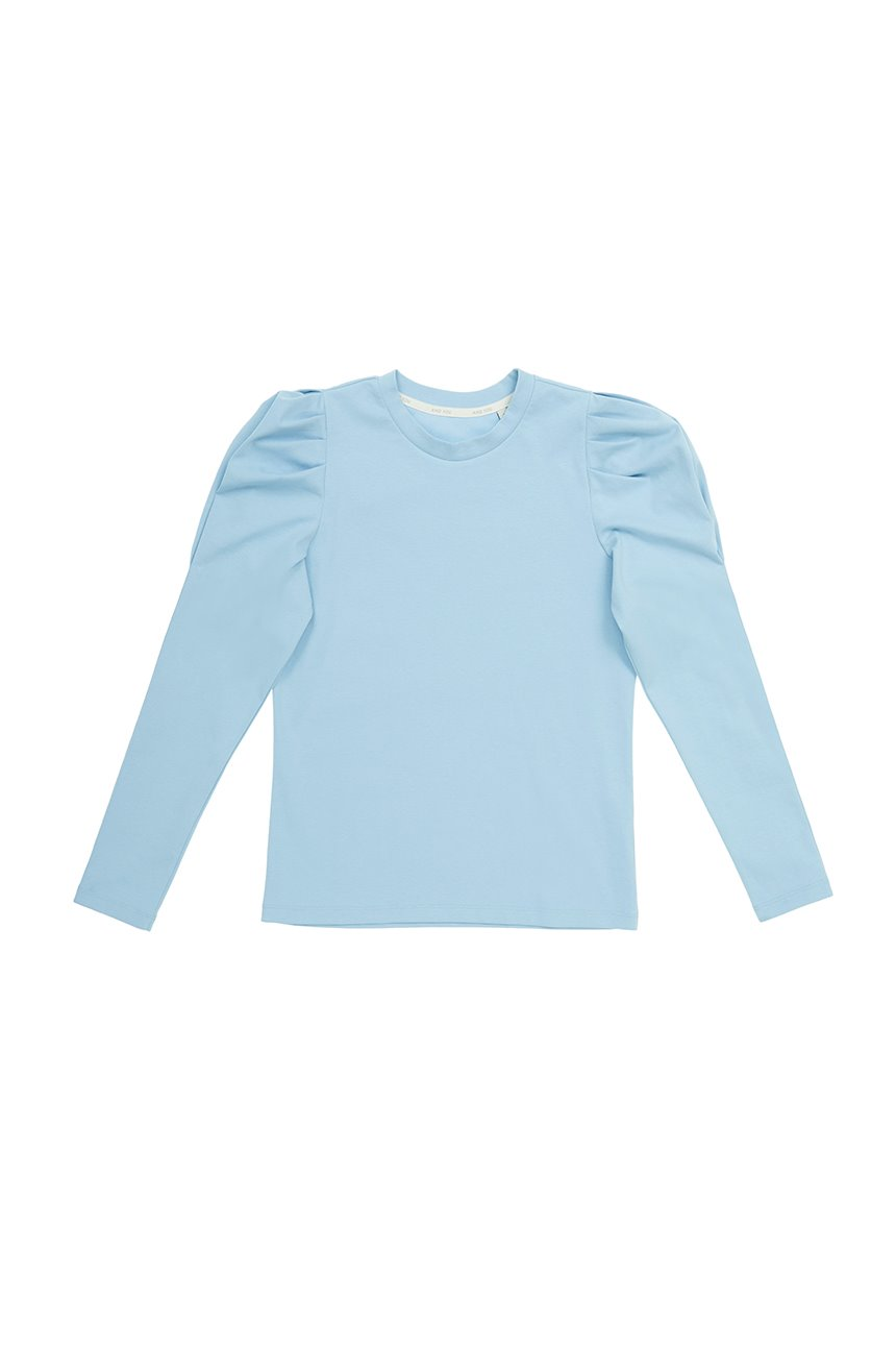 SSANGMUN Puffed long sleeve T-shirt (Powder blue)