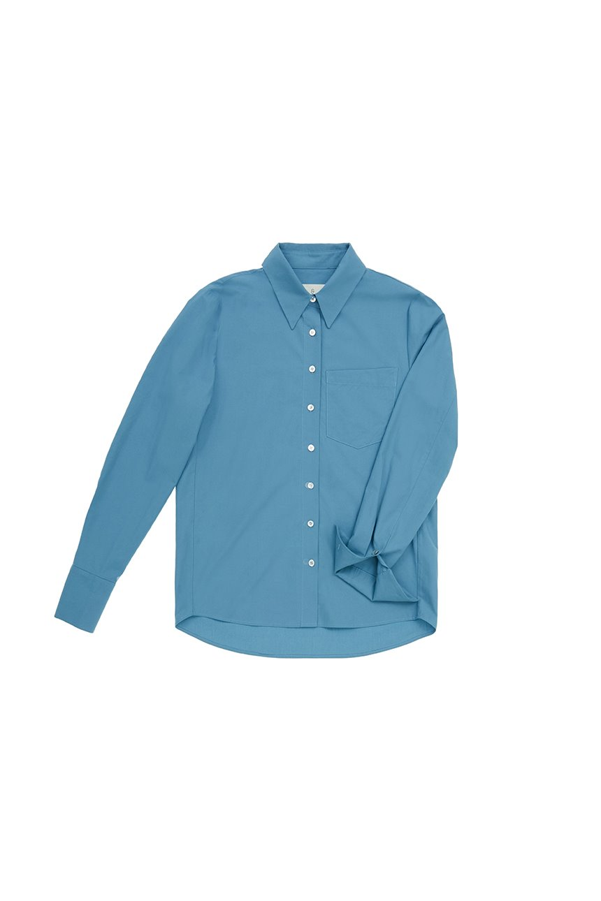 [신세경착용]YEOUINARU One pocket basic shirt (Steel blue)