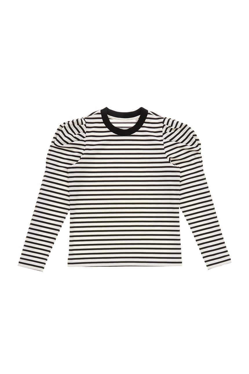 SSANGMUN Puffed long sleeve T-shirt (Black stripe)